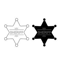 Wild west sheriff star contour black vector