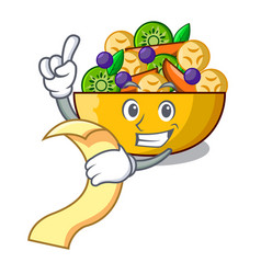 with menu mascot diet fresh tasty fruit salad vector image