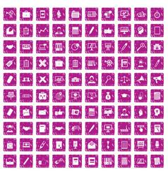 100 finance icons set grunge pink vector