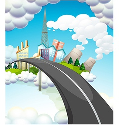 A road going to the city vector image