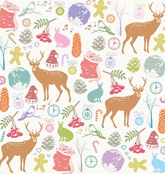 Card with Christmas deer vector image vector image