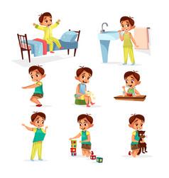 cartoon boy daily routine activity set vector image