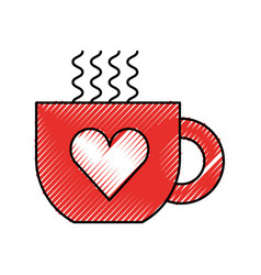 Cup of coffee tea hot with heart icon on white vector