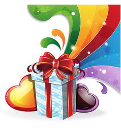 gift box on rainbow background vector image vector image