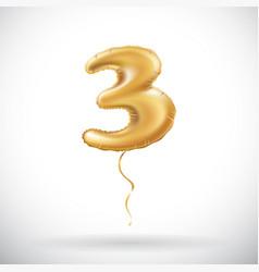 golden number three 3 metallic balloon metallic vector image vector image