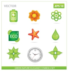 green nature eco sign set vector image