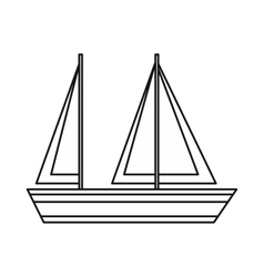 Sailing boat icon outline style vector image vector image