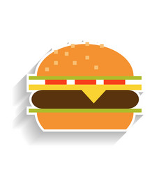 sandwich with meat cheese tomatoes and lettuce vector image vector image
