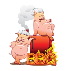 Two funny pigs near the red smoker vector
