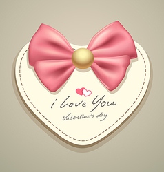 Valentines heart pink ribbons vector image
