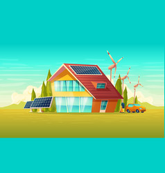 green house electric car renewable energy vector image