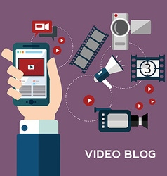 Online video design concept set with blogger media vector image vector image