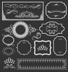 Vintage floral decorative border frames elements vector image vector image