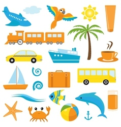 Bright cartoon travel icons vector image