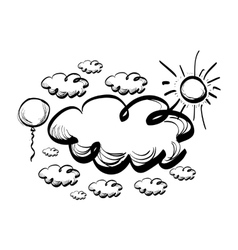 Hand drawing sky with clouds vector image vector image