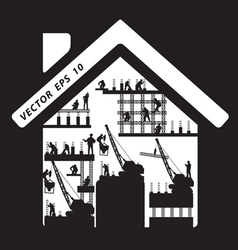 Home icon construction worker silhouette at work vector image vector image