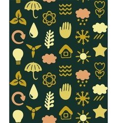 seamless pattern with eco icons vector image