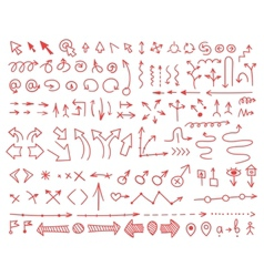 Set of arrows drawn by hand vector image