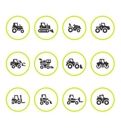 set round icons of tractors vector image