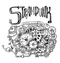 sketch steampunk mechanism vector image