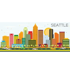 Abstract Seattle Skyline with Color Buildings vector image vector image