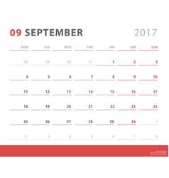 calendar planner 2017 september week starts vector image