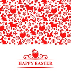 easter pattern card red vector image vector image