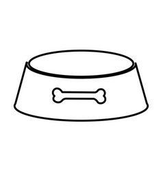 sketch silhouette pet bowl with bone symbol vector image