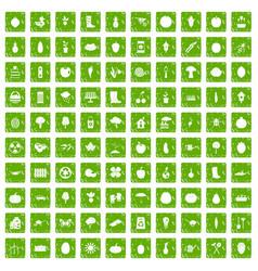 100 garden icons set grunge green vector