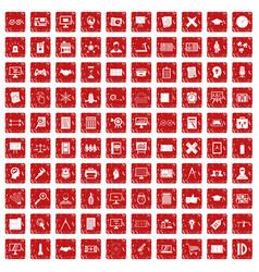 100 plan icons set grunge red vector image