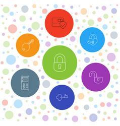 7 lock icons vector image