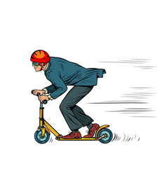 A businessman is riding a scooter vector