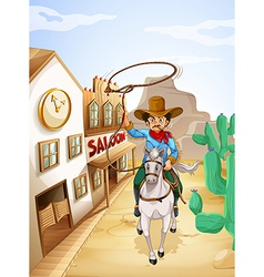 A man with a tobacco riding in a white horse vector image