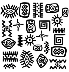 Background with African motifs over white vector image