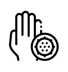 Bacteria germ and hand sign thin line icon vector