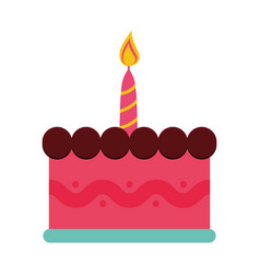 Birthday cake with candles icon vector
