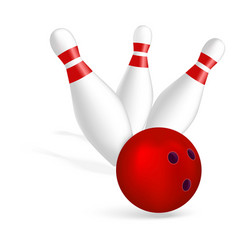 bowling strike icon realistic style vector image