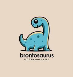 Brontosaurus dinosaur mascot cartoon logo icon vector