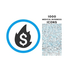 Business Fire Disaster Rounded Symbol With 1000 vector