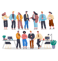 Business people in office set workers vector
