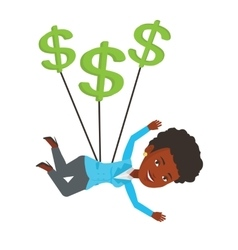 Businesswoman flying with dollar signs vector