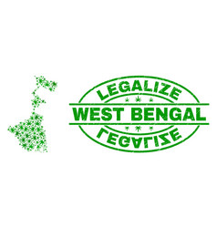 Cannabis leaves mosaic west bengal state map with vector