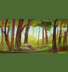 Cartoon forest background nature park landscape vector