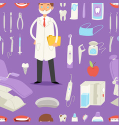 cartoon funny dentist doctor and stomatology vector image