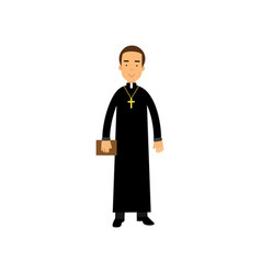 cartoon priest character wearing traditional black vector image