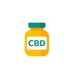Cbd oil bottle icon on white vector
