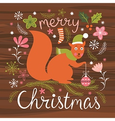 Christmas cute squirrel vector image
