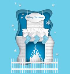 christmas fireplace with burning fire santa socks vector image