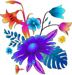 colorful flower vivid graphic floral design vector image