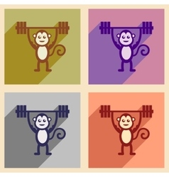 Concept flat icons with long shadow monkey cartoon vector